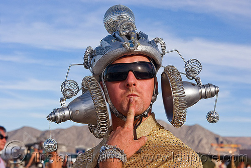 weird hat - burning man 2010, burning man, costume, hat, headdress, headgear, metal, sunglasses