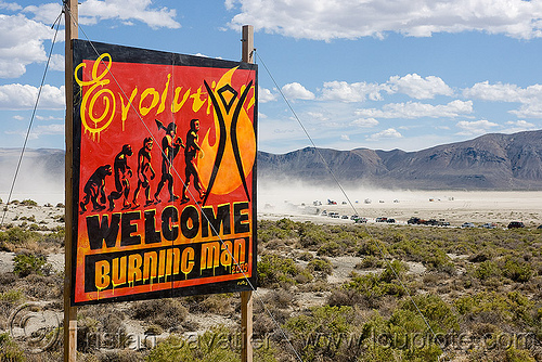 welcome - entrance sign - burning man 2009, arrival, burning man, cars, entrance, evolution, road, sign, welcome