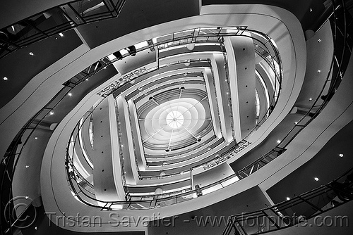 shopping center - double-helix spiral stairs - san francisco, architecture, double helix, ellipse, elliptical, galaxy, nordstrom, san francisco center, san francisco centre, shopping center, spiral stairs, westfield