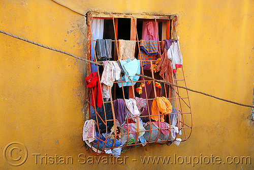 wet clothes hanging at window, clothes, drying, grid, hanging, kurdistan, mardin, wall, wet, window, yellow
