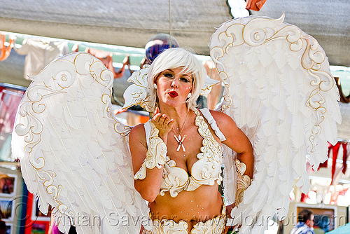 white angel costume, angel wings, center camp, costume, white angel, woman