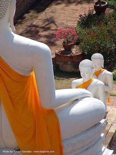 พระพุทธรูป - white buddha statue and two disciples - อุทยาน ประวัติศาสตร์ สุโขทัย - เมือง เก่า สุโขทัย - sukhothai - thailand, buddha image, buddha statue, buddhism, buddhist temple, cross-legged, sculpture, sukhothai, wat, white, ประเทศไทย, พระพุทธรูป, อุทยาน ประวัติศาสตร์ สุโขทัย, เมือง เก่า สุโขทัย