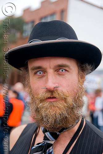 white contact lenses, beard, color contact lenses, contacts, dore alley fair, hat, man, nose piercing, randal alan smith, randal smith, septum piercing, special effects contact lenses, theatrical contact lenses, white contact lenses