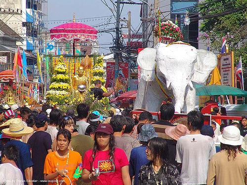 ช้างเผือก - white elephant - เชียงใหม่ - chiang mai - สงกรานต์ - songkran festival (thai new year) - thailand, crowd, elephant sculpture, elephant statue, people, street, water festival, ช้างเผือก, ประเทศไทย, สงกรานต์, เชียงใหม่