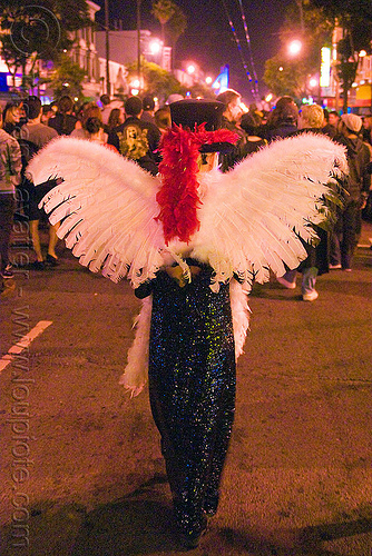 white feathers angel wings - dia de los muertos - halloween (san francisco), angel costume, angel wings, day of the dead, dia de los muertos, face painting, facepaint, halloween, makeup, night, white feathers, woman