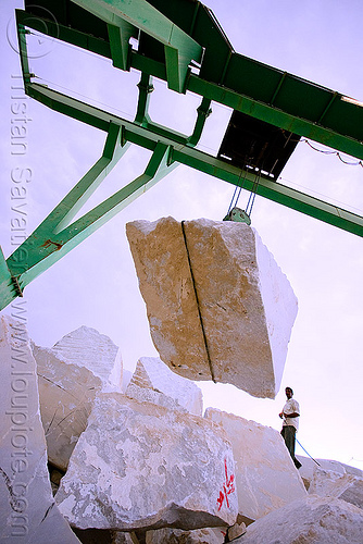 white marble block - production quarry - portal crane (india), blocks, cable, gantry crane, man, marble, portal crane