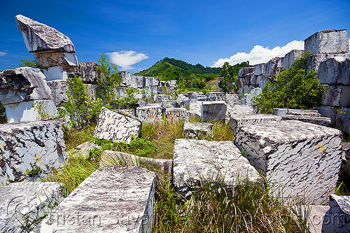 white marble blocks, blocks, field, stone quarry, white marble
