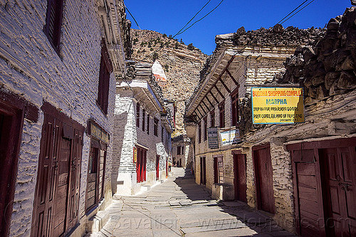whitewashed houses - main street - buddha shopping complex (nepal), annapurnas, houses, kali gandaki valley, marpha, painted, village, white, whitewashed