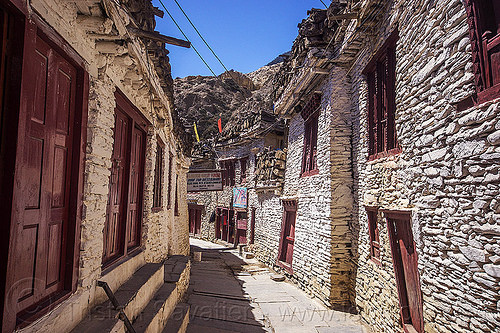 whitewashed stone houses - marpha - main street - himalayas (nepal), annapurnas, houses, kali gandaki valley, marpha, painted, village, white, whitewashed