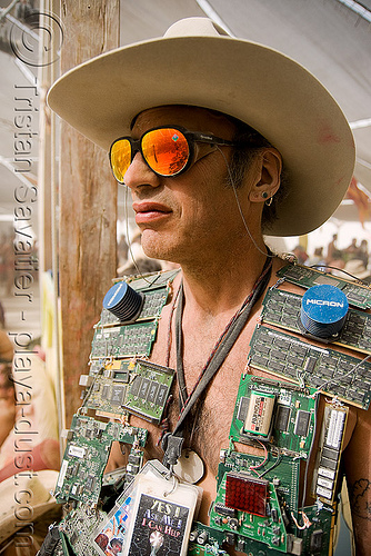 wired burner - brillig - burning man 2008, brillig, burning man, center camp, circuits, cowboy hat, sunglasses