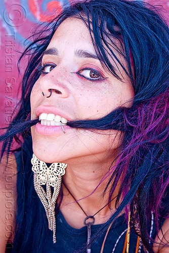 woman biting her hair - mumu mariane charline, burning man, center camp, lip piercing, makeup, mumu, nose piercing, people, septum piercing, woman