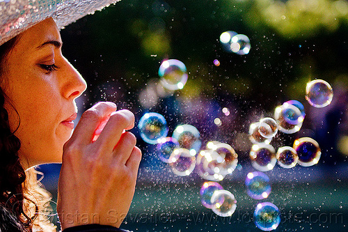 woman blowing soap bubbles, blowing, pople, soap bubbles, spring training, woman