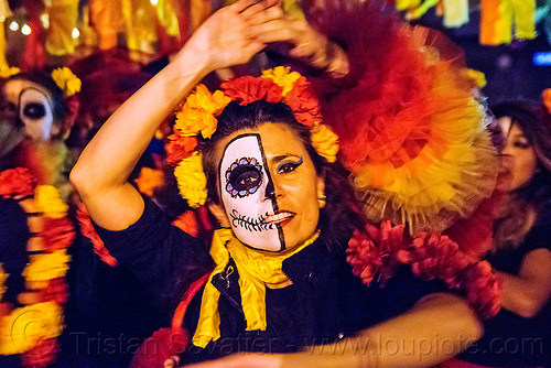 woman dancing salsa - dia de los muertos, dancing, day of the dead, dia de los muertos, face painting, facepaint, flower headdress, half skull, halloween, night, salsa dancer, sugar skull makeup, woman
