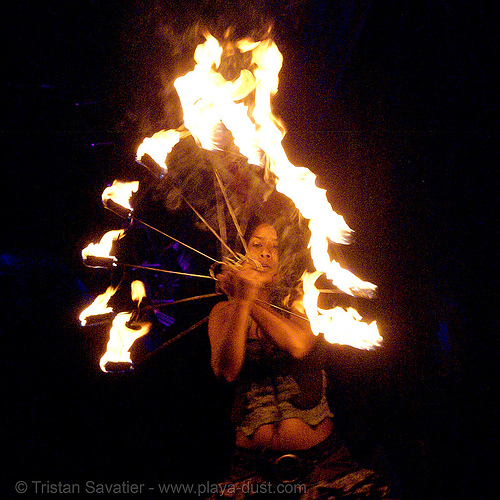 woman dancing with fire fans - burning man 2007, burning man, fire dancer, fire dancing, fire fans, fire performer, fire spinning, flames, night, woman