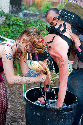 woman doing a keg stand, beer keg, drinking, keg stand, leah, tattooed, tattoos, upside-down, woman