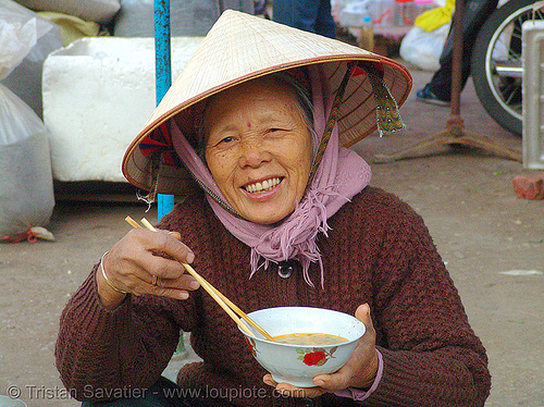 woman eating soup - vietnam, asian woman, bowl, chopsticks, conical asian hat, conical hat, food, lang sơn, mature woman, old, vietnam