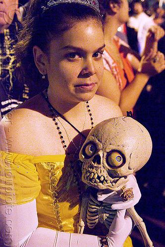 woman holding baby skeleton, day of the dead, dead baby, dia de los muertos, halloween, makeup, night, people, skeleton, woman
