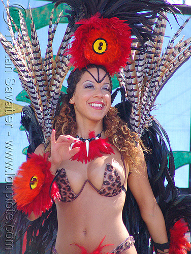 brazil carnival costume - feathers, brazilian, breasts, carnaval, carnival costume, cleavage, feather costume, feathers, micaela, samba, san francisco carnival, woman