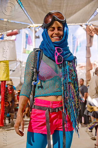 woman in pink and blue at the center camp cafe - burning man 2009, blue, burning man, goggles, pink, woman