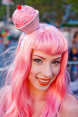 woman in pink cupcake princess costume - gay price (san francisco), cupcake, gay pride festival, headdress, pink wig, princess, woman