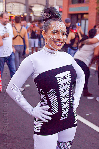 woman in white bodysuit - folsom street fair (san francisco), crystal, folsom street fair, glittery makeup, woman