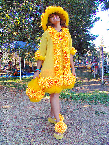woman in yellow costume - burning man decompression 2005 (san francisco), burning man decompression, costume, fashion, flower dress, woman, yellow flowers