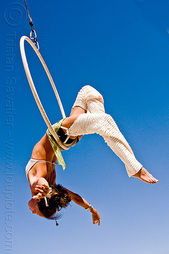 woman on aerial hoop, aerial hoop, aerial ring, aerialist, burning man, cerceau, lyra, rebecca, woman