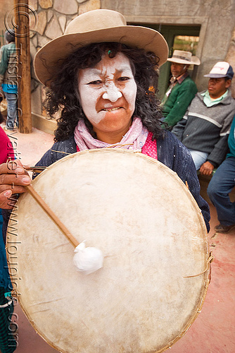 woman playing traditional andean caja drum, abra pampa, andean carnival, argentina, caja, drum, drummer, drumming, folklore, gaucho, hat, music, noroeste argentino, old, quebrada de humahuaca, woman