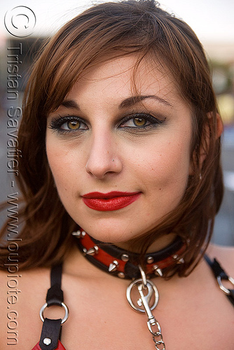 woman - red lipstick - folsom street fair 2009 (san francisco), collar, folsom street fair, jade, red lipstick, woman