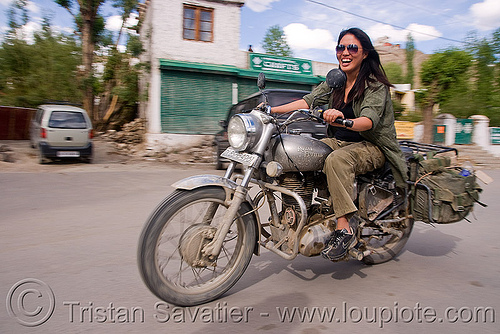 woman riding royal enfield bullet motorcycle - grace liew (india), 350cc, grace liew, india, ladakh, motorcycle touring, motorcyclist, rider, riding, royal enfield bullet, woman