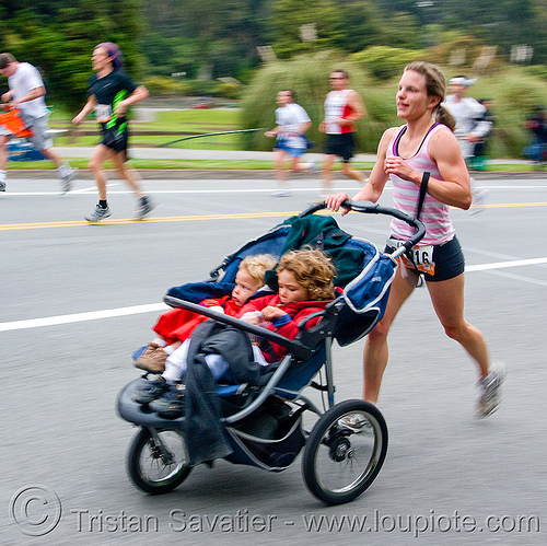 woman running with kids in a stroller, bay to breakers, children, festival, footrace, mother, people, runner, street party