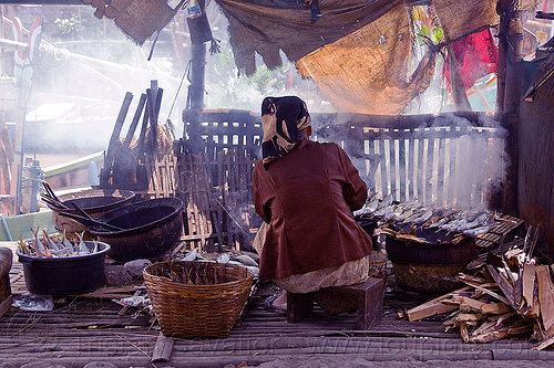 fish smoking, cooking, fishes, java, old woman, sitting, smoke, smoked fish, smoking, tamansari, working