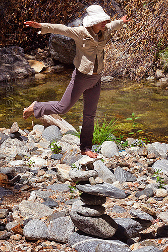 woman standing on one leg on a cairn, balancing, big sur river, cairn, hiking, pine ridge trail, rocks, stack, stacked, stream, trekking, vantana wilderness, woman