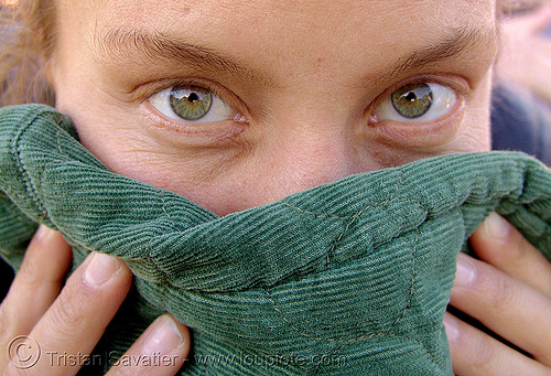 woman with amazing green eyes - sarah (san francisco), face mask, green eyed, green eyes, sarah, woman