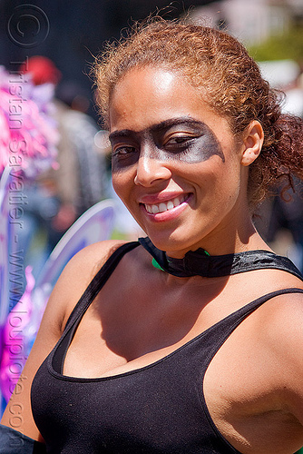 woman with black mask face paint, bay to breakers, facepaint, festival, people, street party