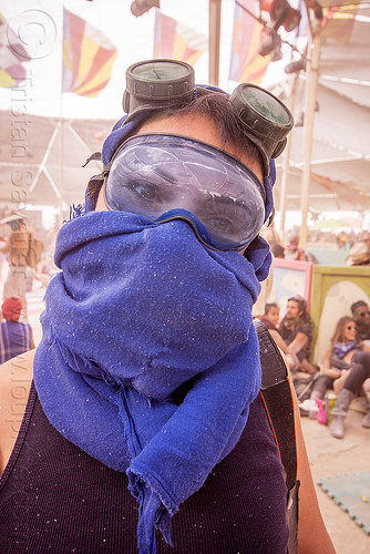 woman with blue scarf - burning man 2015, center camp, dusty, goggles, people