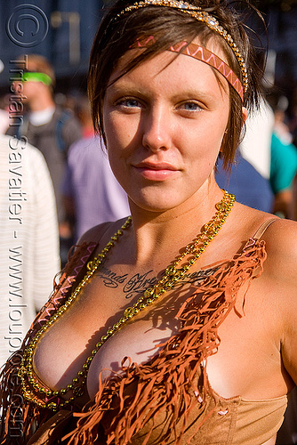 woman with chest tattoo, cleavage, festival, love fest, lovevolution, people, tan line, tattooed, tattoos