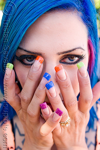 woman with colored nails - blue hair jen, blue contact lenses, blue contacts, blue hair, color contact lenses, colored fingernails, colored lenses, colored nails, gay pride festival, jenny, woman