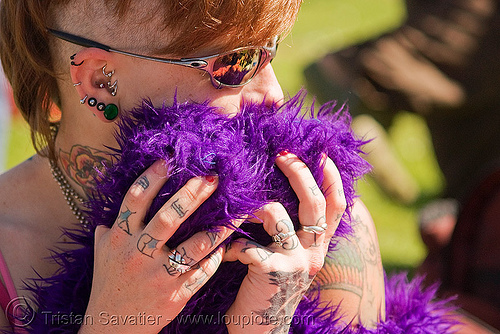 leah, ear, fur, hands, leah, piercing, purple, sunglasses, tattooed, tattoos, woman