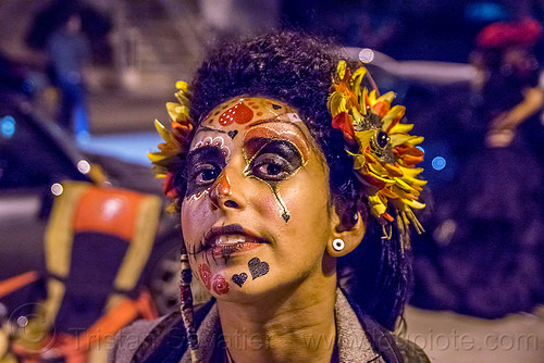 woman with face paint and flower headdress - dia de los muertos, day of the dead, dia de los muertos, face painting, facepaint, halloween, heart makeup, hearts, night, sahar, sugar skull makeup, woman