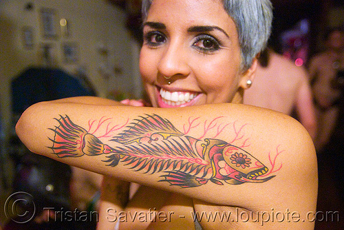 fish tattoo, arm tattoo, dia de los muertos, fish tattoo, mexican tattoo, tattooed, tattoos, woman