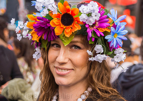 woman with floral headband - how weird street faire (san francisco), fake flowers, headband, headdress, how weird festival, woman