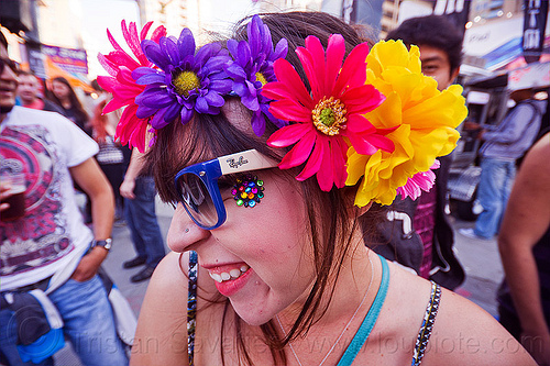 woman with flower headdress - howard street fair (san francisco), bindis, flower headdress, woman