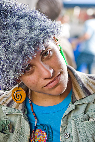 woman with fuzzy grey hat (san francisco), fluffy, fuzzy, hannah, hat, woman