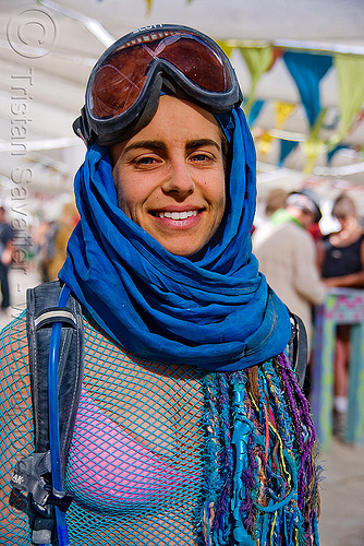woman with goggles at the center camp cafe - burning man 2009, blue, burning man, goggles, woman
