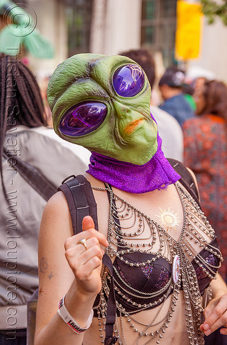 woman with green alien mask - how weird street faire (san francisco), alien mask, green, how weird festival, woman