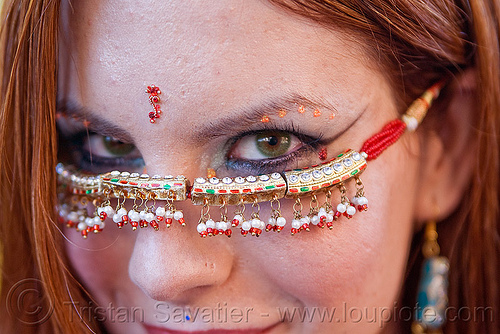 woman with green eyes - bindis - jill, bindis, burning man decompression, green eyed, green eyes, jewelry, jill, redhead, woman