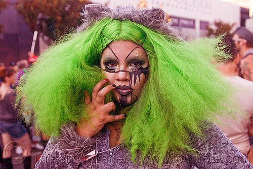 woman with green wig and halloween makeup - folsom street fair (san francisco), black makeup, green wig, halloween makeup, woman