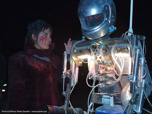 woman with hotshot the robot - burning-man 2004, art, bot, burning man, hot shot, hotshot the robot, night, robotic