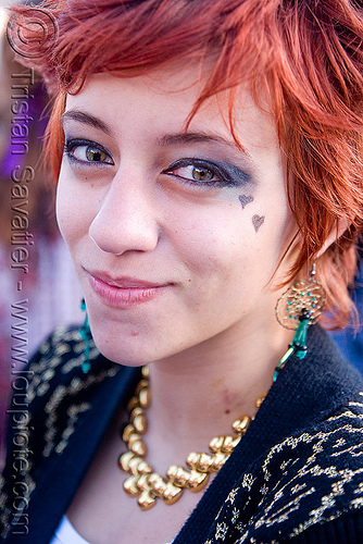 woman with iris coloboma (a hole in the eye's iris) - vanessa rivera, birth defect, black spot, coloboma, eyes, festival, hickey, iris, love fest, lovevolution, pupil, redhead, short hair, vanessa rivera, woman